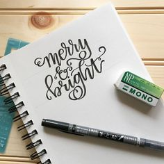 Merry & bright lettering using @tombowusa's Fudenosuke Calligraphy Pen