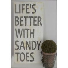 Beach Quote, Wall Art, Life's Better with Sandy Toes, Wood Sign, Quote, Custom Beach Sign