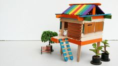 DIY Popsicle Sticks House Craft #5: Do it yourself   In this tutorial, we are building the 5th popsicle sticks house, simple and cool with the very easy Steps for kids, fun, or school projects that everyone can craft it. Watch this video: https://www.youtube.com/watch?v=i_1_ZCVnzbM  Material used: - Popsicle sticks (colourful) - Piece of woods - Glue - Saw - Scissor - Ruler - Patience (because it take time to make)  Easy Crafts, DIY, Life Hacks, all in one (Backyard Crafts)