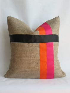 Pink and Orange with Black Grosgrain Ribbon and Burlap Pillow Cover. $21.00, via Etsy.