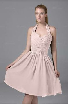 Beautiful halter summer dress with knee length and a gentle color, love it!