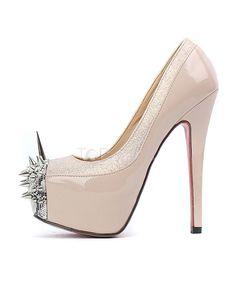 Cap Toe Spike Heel PU Leather High Heels for Woman - Heels - Shoes
