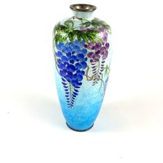 Wisteria Ginbari-Jippo Vase Silver Embossed Foil Cloisonne Enamel Blue... ($385) ❤ liked on Polyvore featuring home, home decor, vases, silver home accessories, purple home decor, colored vases, blue vase and purple home accessories