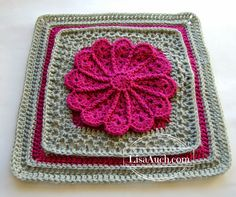 12 inch Afghan Square Photo Tutorial Pane in My Dahlia | Free Crochet Patterns and Designs by LisaAuch  ༺✿Teresa Restegui http://www.pinterest.com/teretegui/✿༻