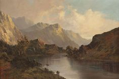 Escape to the book: J. Tolkien's view on escapism from the realia of the Robot Age. Old Paintings, Beautiful Paintings, Landscape Paintings, Acrylic Paintings, Scottish Mountains, Scotland Landscape, Hudson River School, Mountain Paintings, Traditional Landscape
