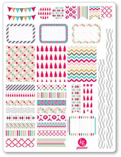 Tinsel Decorating Kit / Weekly Spread Planner Stickers for Erin Condren Planner, Filofax, Plum Paper