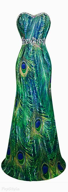 Beautiful rhinestone peacock evening dress.