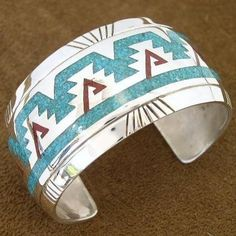 Big Boy Navajo Indian Jewelry Turquoise Coral Silver Cuff Bracelet