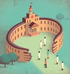Davide Bonazzi digital stylized editorial illustration for Science Mag about more inclusive academia for women ethnic minorities in order to fight bias and disparity. bonazzi.salzmanart.com