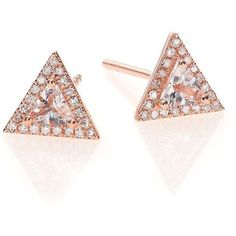 EF Collection Diamond, White Topaz & 14K Rose Gold Triangle Stud... (929 CAD) ❤ liked on Polyvore featuring jewelry, earrings, apparel & accessories, rose gold, post earrings, white topaz earrings, 14k stud earrings, pave diamond earrings and 14 karat gold earrings