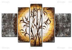 "Quadro su tela ""Bambù"" disponibile su bimago.it // Oriental painting, feng shui style, bamboo on canvas ( 5 pieces)"