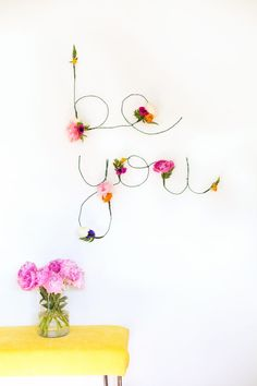 Floral and wire words