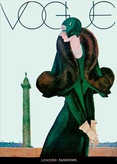 Vintage Poster - Vogue Art Deco Green Coat - Emerald Green - Fashion