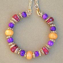 Dyed Purple Turquoise, Inlaid Yak Bone, and Yellow Agate Bracelet