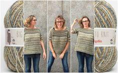Craft Lovers ♥ Los Retos de Lu y su jersey oversize sin costuras y reversible tejido con un ovillo Big to Knit | http://www.katia.com/blog/es/craft-lovers-jersey-oversize-sin-costuras-reversible/