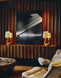 fluted walnut paneling in an interior designed by Fox-Nahem Assoc