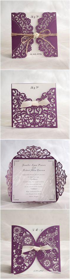 Purple Themed Chic Rustic DIY Laser Cut Wedding Invitations