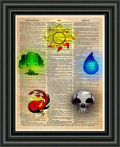 Magic the Gathering art, magic the gathering token symbols, Geeky art print, The 5 major elements come together on one cool print! These unique and original artwork are printed on authentic vintage ea