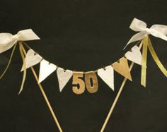 50th Golden Wedding Anniversary cake topper, cake bunting, cake banner, cake flags, white lace and gold hearts with gold numbers