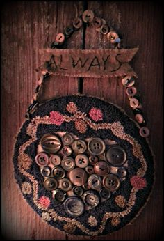 Punch Needle Primitive Pattern Heart Valentine Old Buttons Hook Punch, Rug Hooking, Locker Hooking, Punch Needle Patterns, Primitive Patterns, Antique Sewing Machines, Wool Art, Penny Rugs, Wool Applique