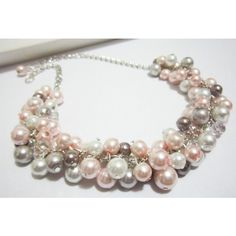 Bridesmaid Jewelry, White, Gray and Blush Pink Cluster Necklace,... (33 CAD) ❤ liked on Polyvore featuring jewelry, necklaces, pink necklace, grey pearl necklace, pink chunky necklace, pearl necklace and pearl wedding jewelry