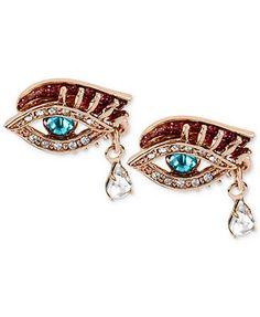 Betsey Johnson Earrings, Antique Rose-Gold-Tone Crystal Eye Stud Earrings
