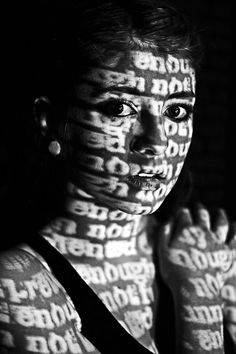 "Example: Not Enough - projected words such as ""Not good enough"", ""not smart enough"", and ""not pretty enough"" onto her skin using a simple classroom projector. A Level Photography, Shadow Photography, Photography Words, Dark Photography, Conceptual Photography, Photography Projects, Black And White Photography, Portrait Photography, Street Photography"