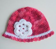 Newborn Girl Pink Cloche With White Flower  Baby  Winter Beanie 0 To 3 Months Children Hat Fall Cap Clothing   by BundleOfJoyShop for $16.00