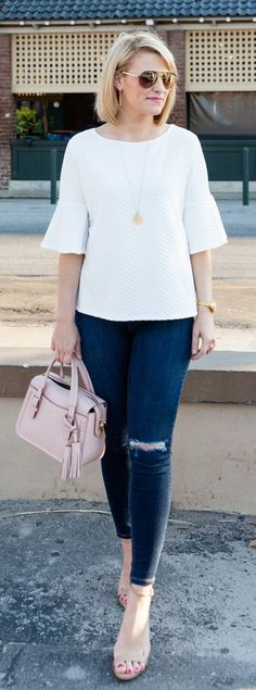 #spring #outfits /  White Top / Ripped Skinny Jeans / Pink Leather Tote Bag