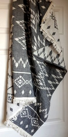 Boho Style Blanket Throw - Stonewashed Cotton throw - Beach Blanket with fringes - Geometric pattern blanket - Double sided throw