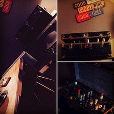 Une malle chinée, des bouteilles et hop un magnifique bar original 😬