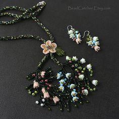 beadwoven set 'Garden in bloom' necklace & earrings by BeadCatcher