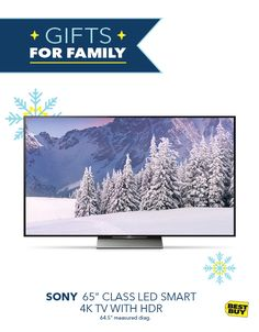 "Make family movie night the ultimate home theater experience with the Sony 65"" Class LED Smart 4K TV with HDR. Watch 4K movies and shows at 4X the resolution of Full HD. With High Dynamic Range (HDR), you can experience life-like color, clarity and contrast like never before with the latest advancement in 4K TV technology. Toss in free delivery and available professional installation, and it's holiday gifting made easy."