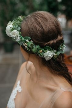 Flower Crown | Macrame & Feathers For A Boho Wedding At The Kedleston Derby With Succulents & Foliage Details And Images By Magda K Photography