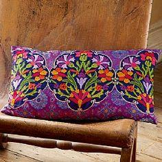 Purple Mughal embroidered cushion.
