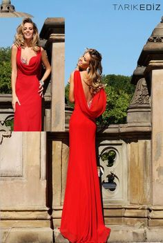 Tarik Ediz Sweetheart Cowl Neck Crystal Beaded Backless Evening Dresses Red Chiffon Gown Sexy Prom Dress Online with $95.1/Piece on Hjklp88's Store | DHgate.com