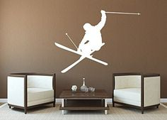 Skiing Wall Decal Vinyl Stickers Decals Home Decor Skier Snow Freestyle Jumping Winter Nursery Bedroom Extreme Sports Decor Mens Gift x122