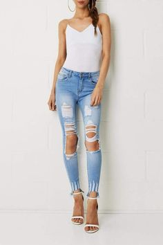 frontrow Skinny Ripped Jeans #cute #blues  #rippedjeans #styleinspiration #affiliate
