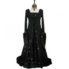 *Producto disponible bajo encargo.Vestido medieval de terciopelo negro,lazada delantera,escote recto. http://www.d-gotico.com/vestidos-de-novia/266-vestido-medieval-terciopelo-y-tela-bordada-negro.html
