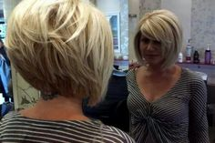 Graduated bob with short to long and contoured layers.
