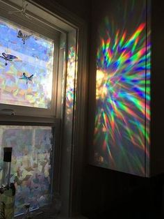 Decorative Window Film Holographic Film 24 X 36 Panel Cracked Ice Pattern is part of Window decor How to Apply Our Decorative Window Film Fill Your House with Rainbow Light X 36 Pan - My New Room, My Room, Holographic Film, Hologram, Rainbow Light, Rainbow Glass, Rainbow Aesthetic, Room Goals, Aesthetic Rooms