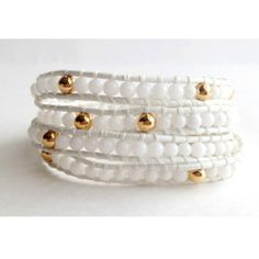 "Image of ""The Essentials"" White & Gold Leather Wrap Bracelet"