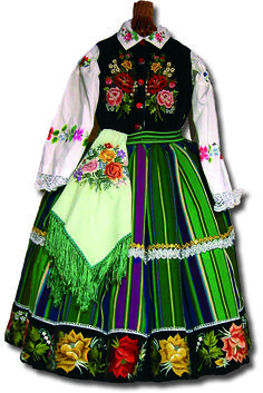 Old costume from Łowicz with hand embroidery