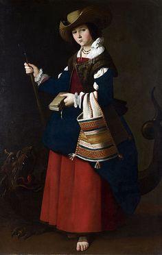 St Margaret. Zurbarán. 1631. Oil on canvas. 194 x 112 cm. National Gallery. London.