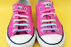 Channel Your Inner Teen with DIY Neon Converse via Brit + Co. Use Velcro strips! Neon Converse, Studded Converse, Glitter Converse, Studded Sandals, Rainbow Converse, Neon Heels, Galaxy Shoes, Saddle Shoes, Lace Heels