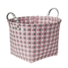 Honey-Can-Do 16 in. W x 11 in. H Light Pink and Light Grey PP Resin Round Weave Basket, Light Pink (Pantone Gray (Pantone Cool Gray Brilliant White Plastic Baskets, Woven Baskets, Basket Weaving, Tote Storage, Fabric Storage, Storage Baskets, Traditional Style Homes, Cleaning Materials, Cloth Bags