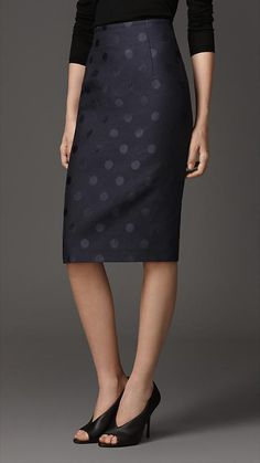 Burberry London Polka Dot Jacquard Pencil Skirt