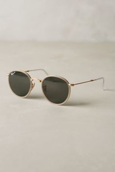 Ray-Ban Round Folding Classic Sunglasses Light Grey One Size Eyewear #anthrofave #anthropologie