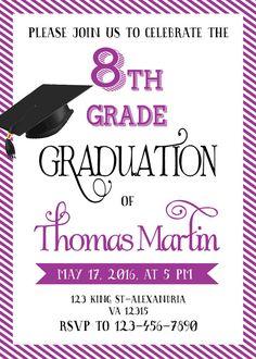 8th grade graduation invitation personalized graduation printable 8th grade graduation invite printable graduation invitation filmwisefo