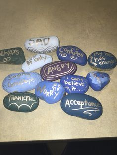 Grief and Loss rocks for my middle school counseling group. Good tools for the o… Grief and Loss rocks for my middle school counseling group. Good tools for the ones who don't know what or how to feel feelins yet Middle School Counselor, Grief Counseling, Counseling Office, Elementary School Counseling, School Social Work, Grief Activities, Activities For Teens, Counseling Activities, Art Therapy Activities